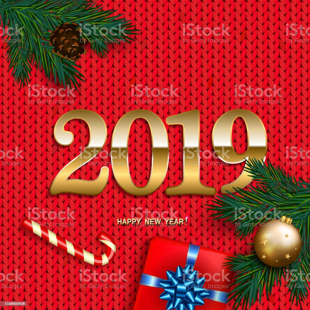 Happy New Year 2019 Card With Box Gift Bow Candy Cane Gold Bubble On