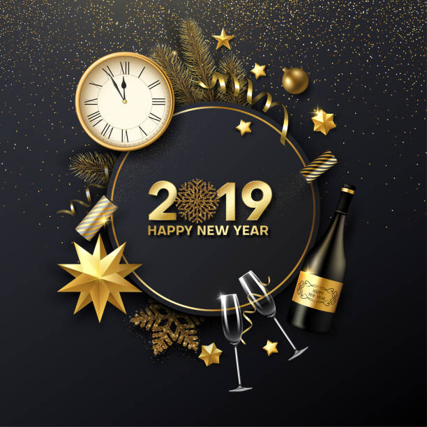 happy new year 2019 card with christmas decorations, champagne, fir and clock. - new years stock illustrations