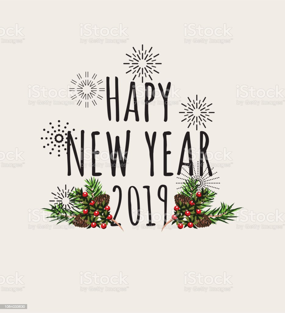 happy new year 2019 cartoon effect with christmas styling royalty free happy new year 2019