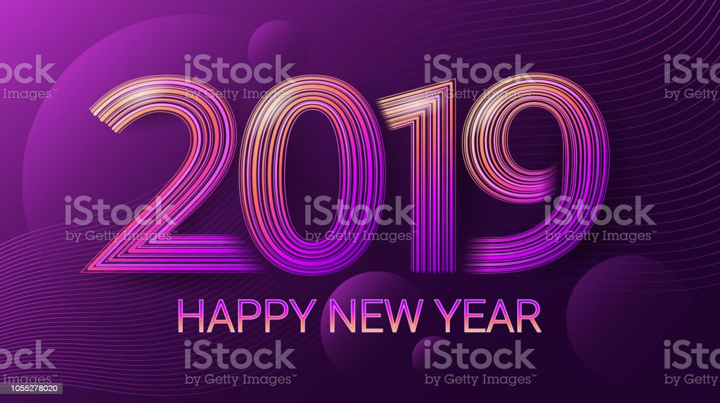 Winterurlaub Weihnachten 2019.Glückliches Neues Jahr 2019 Fest Weihnachten Dunklem Uv Vektor