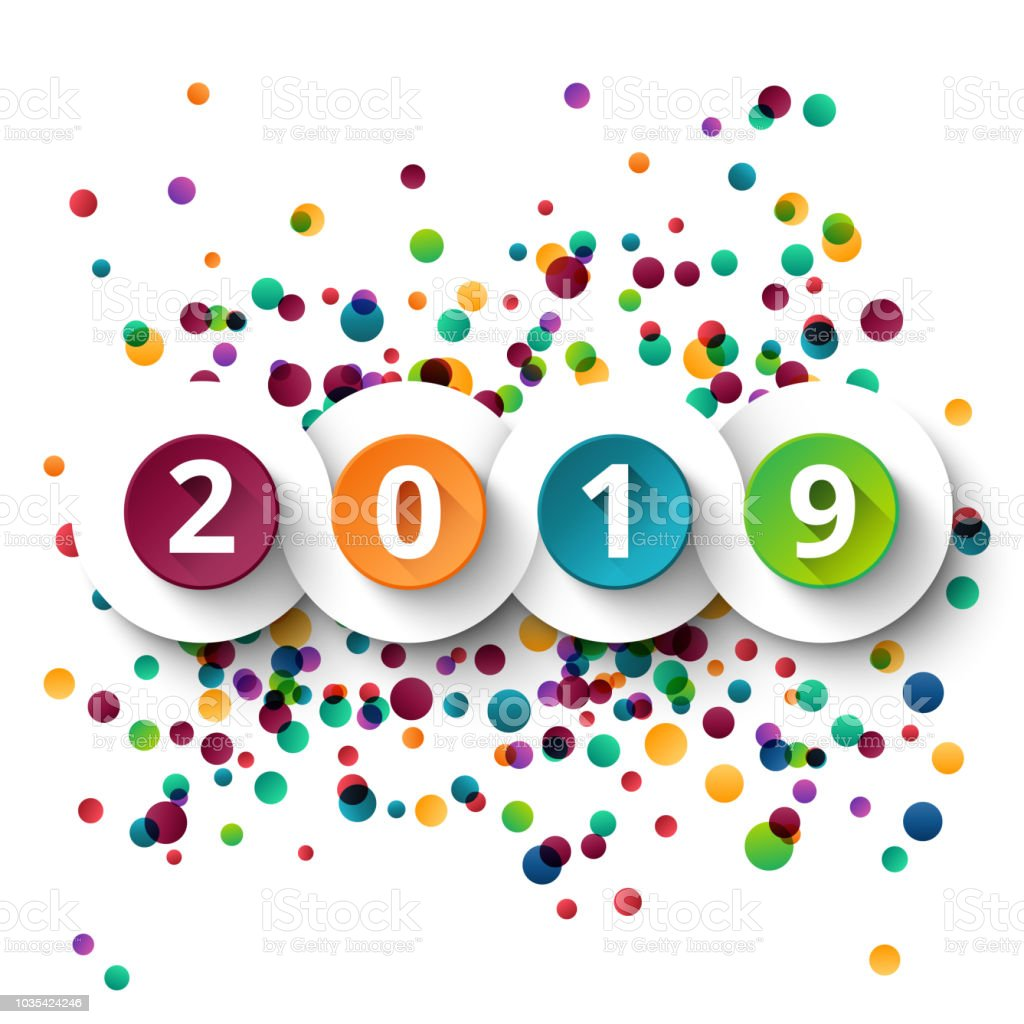 happy new year 2019 celebration with colorful confetti template background vector paper illustration royalty