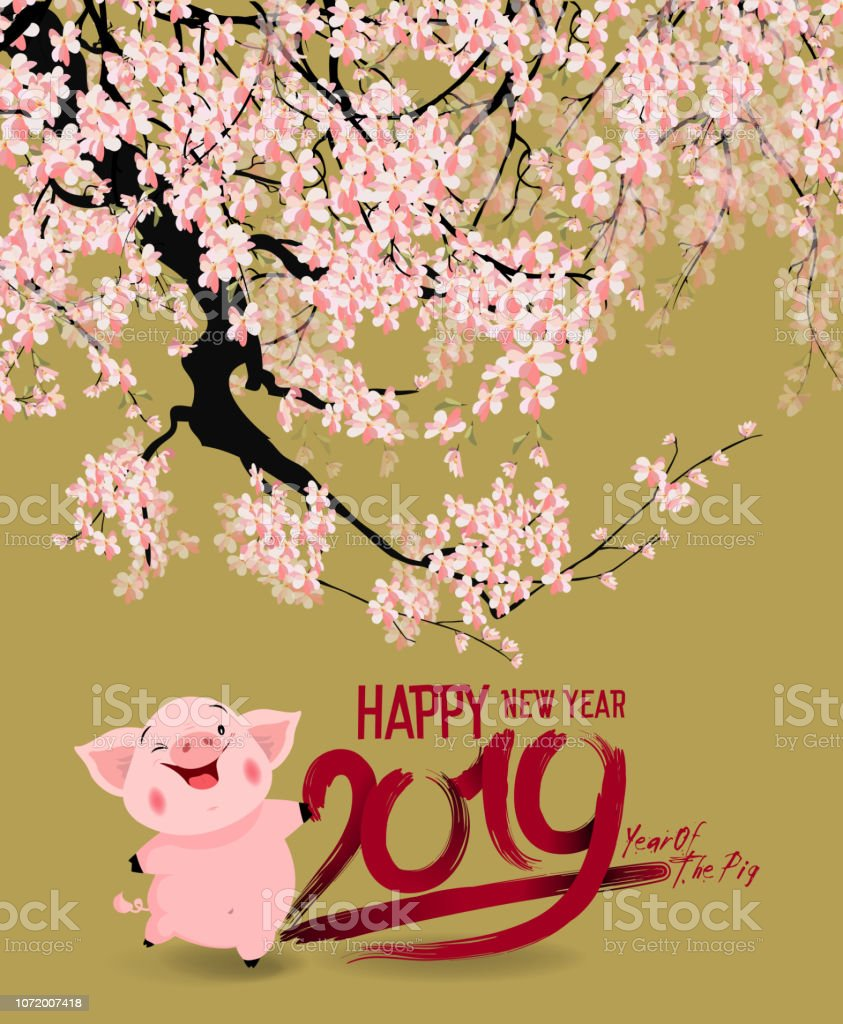 Happy New Year 2019 Chienese New Year Year Of The Pig Stock