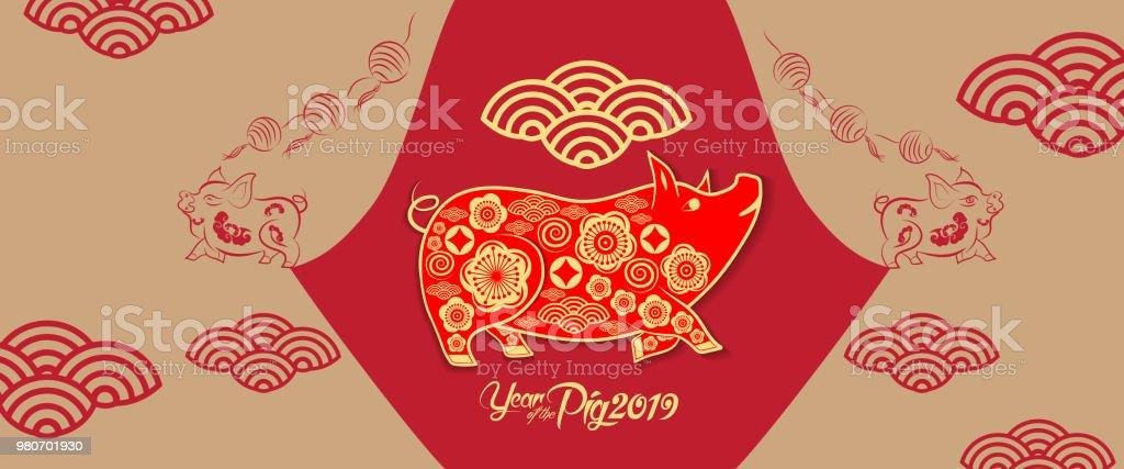 Frohes Neues Jahr 2019 Chinesische Neujahrsgrüße Jahr Des Schweins ...