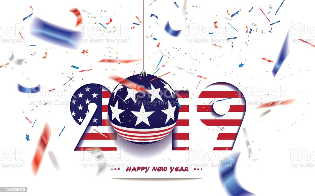 happy new year 2019 christmas card with usa flag and defocused confetti in the national