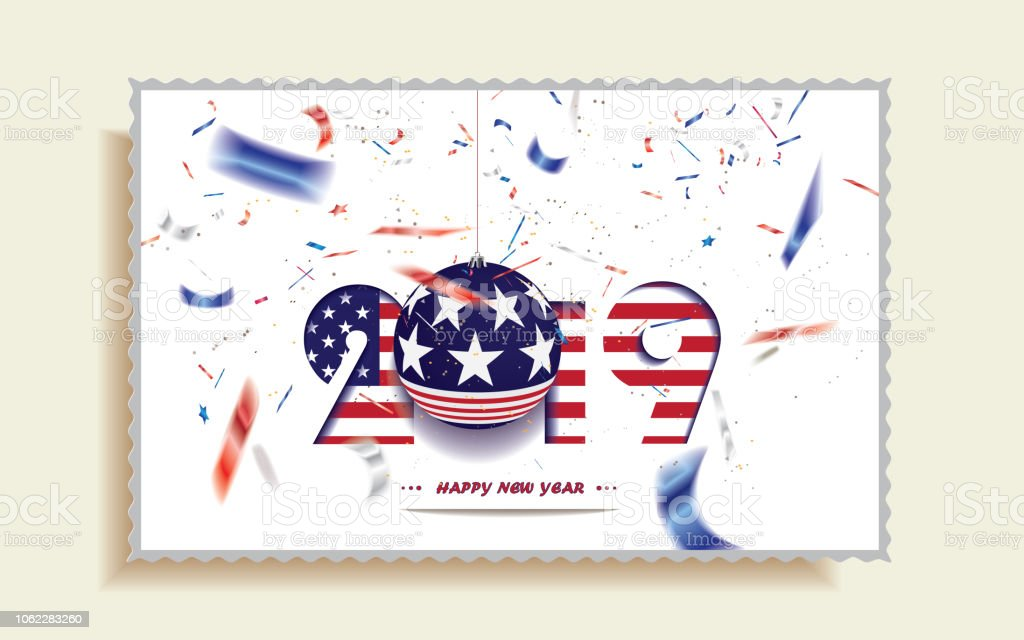 happy new year 2019 christmas postcard with usa flag and defocused confetti in the national
