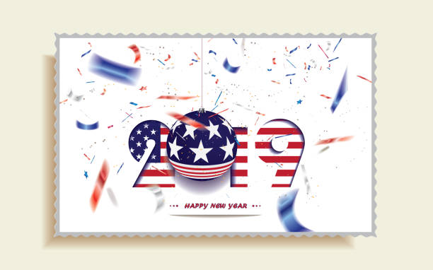 happy new year 2019 christmas postcard with usa flag and defocused confetti in the national colors of usa stock vector art more images of 2019 1062283260