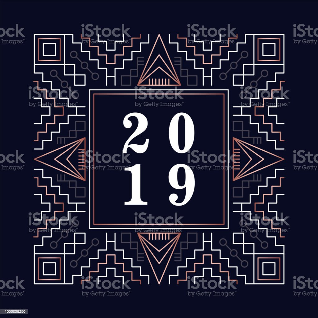 happy new year 2019 copper art deco greeting card royalty free happy new year 2019