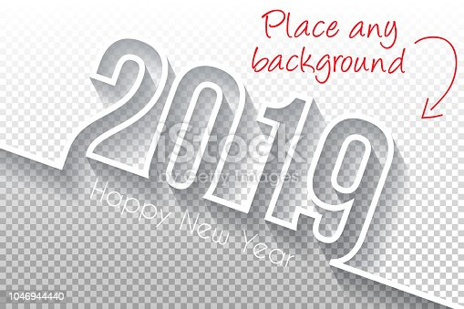Happy new year 2019 with space for your text and your background. Creative greeting card with a flat design style and long shadows. Blank background for easy change background or texture. The layers are named to facilitate your customization. Vector Illustration (EPS10, well layered and grouped). Easy to edit, manipulate, resize or colorize. Please do not hesitate to contact me if you have any questions, or need to customise the illustration. http://www.istockphoto.com/portfolio/bgblue