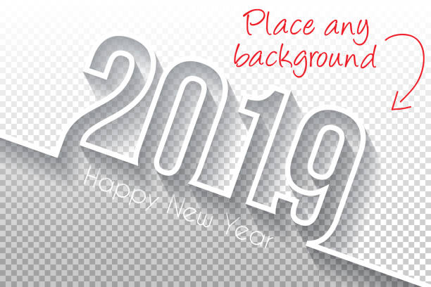 新年あけましておめでとうございます 2019 デザイン - 空白の背景 - 大晦日点のイラスト素材/クリップアート素材/マンガ素材/アイコン素材