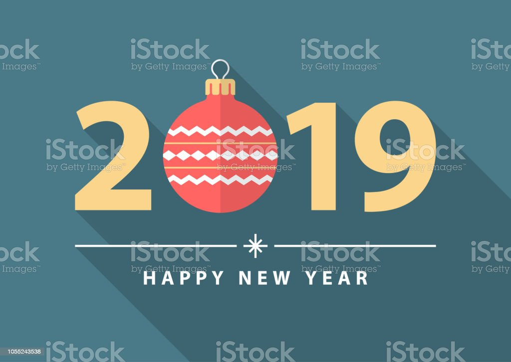 happy new year 2019 flat design style greeting card template royalty free