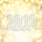 Happy new year 2019 with space for your text. Creative greeting card with a glowing background light. The layers are named to facilitate your customization. Vector Illustration (EPS10, well layered and grouped). Easy to edit, manipulate, resize or colorize. Please do not hesitate to contact me if you have any questions, or need to customise the illustration. http://www.istockphoto.com/portfolio/bgblue