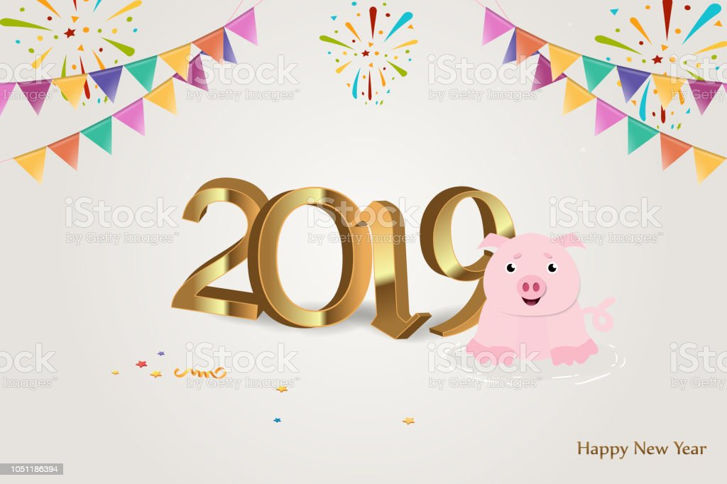 Happy New Year 2019 Golden 3d Numbers With Ribbons And Pink Pig On