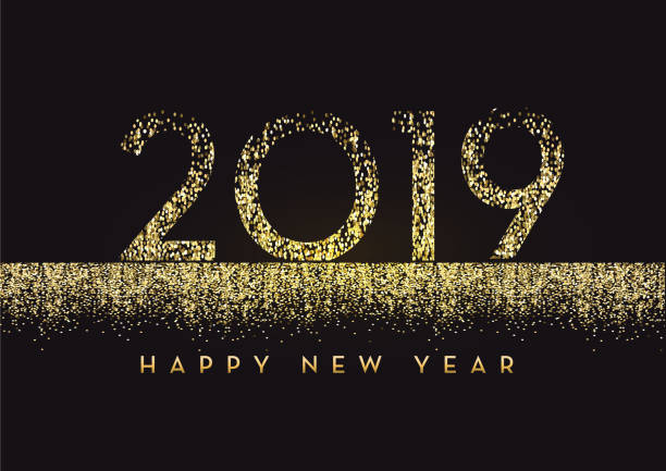 happy new year 2019 greeting card banner design in gold and glitter with text stock vector art more images of 2019 1062258206 istock