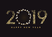 Vector illustration of a Happy New Year 2019 greeting card banner design in gold and glitter with text. Easy to edit with layers. Golden glitter colors.
