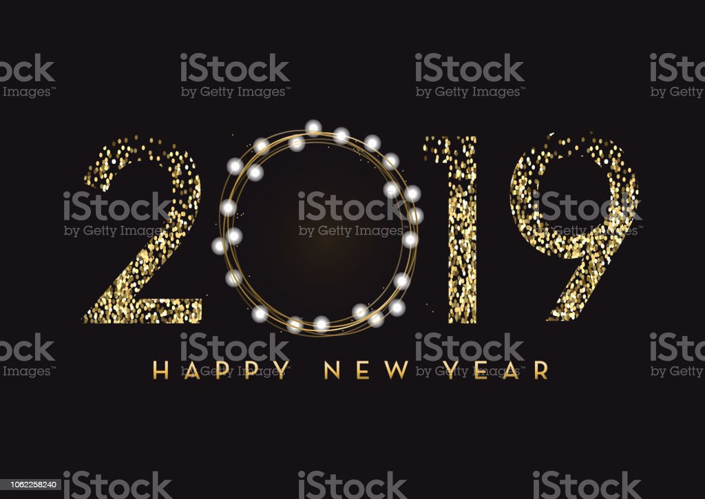 Happy New Year 2019 greeting card banner design in gold and glitter with text vector art illustration