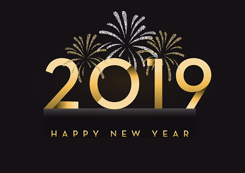 Happy New Year 2019 greeting card banner design in gold and glitter with text