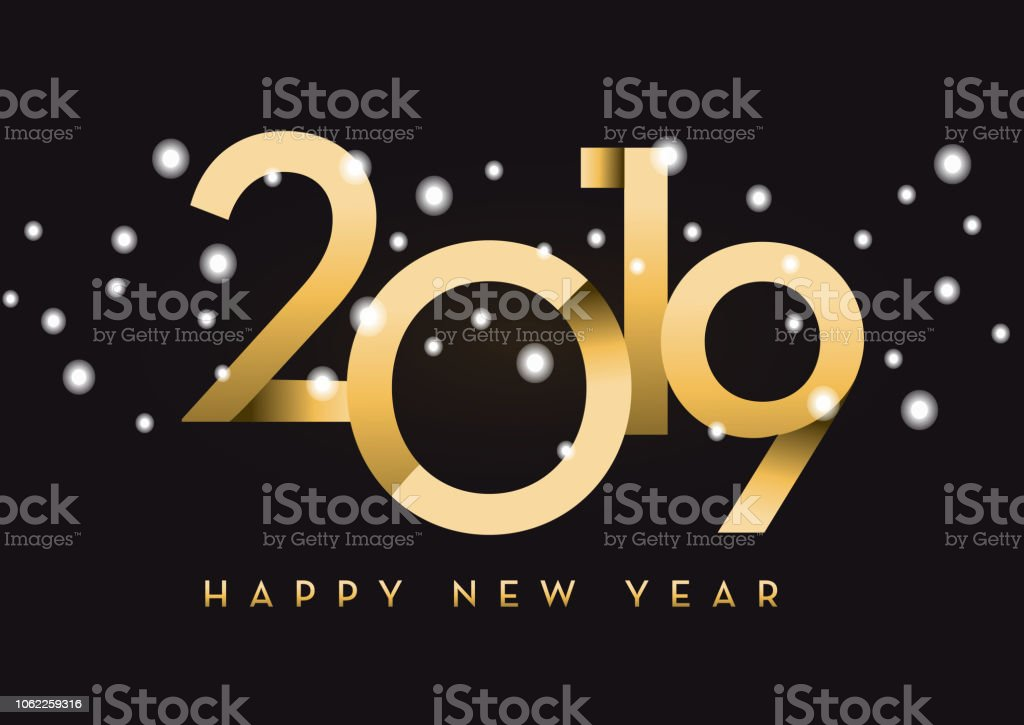happy new year 2019 greeting card banner design in gold and glitter with text royalty