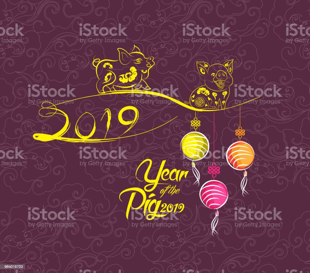 Happy New Year 2019 greeting card. Chinese New Year of the pig - Royalty-free 2019 stock vector