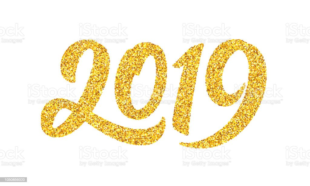 Happy New Year 2019 Greeting Card Design Template With Golden Text