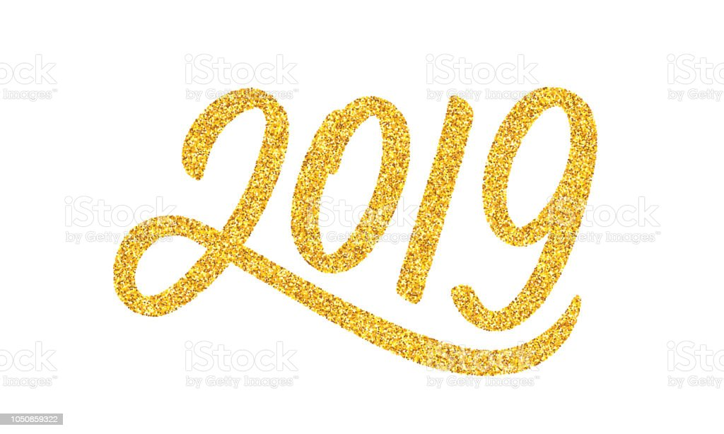 happy new year 2019 greeting card design template with golden text isolated on white background