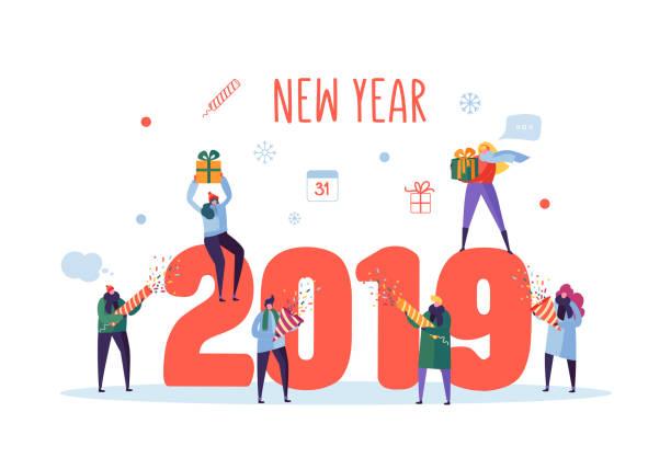 bildbanksillustrationer, clip art samt tecknat material och ikoner med happy nytt år 2019 hälsning card. platt människor figurer firar fest med presentaskar och konfetti. vektorillustration - sparkle teen girl