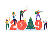 Happy New Year 2019 Greeting Card. Flat People Characters Celebrating Party with Christmas Tree, Gifts and Confetti. Vector illustration