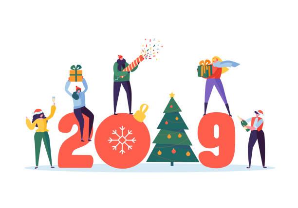 bildbanksillustrationer, clip art samt tecknat material och ikoner med happy nytt år 2019 hälsning card. platt människor figurer firar parten med granen, presenter och konfetti. vektorillustration - sparkle teen girl