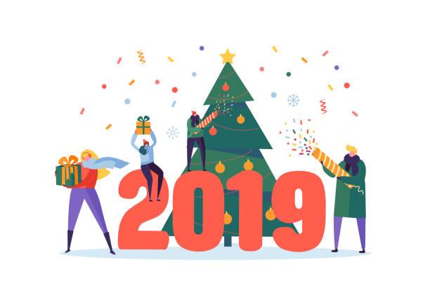 bildbanksillustrationer, clip art samt tecknat material och ikoner med happy nytt år 2019 hälsning card. platt människor figurer firar parten med julgran, presentaskar och konfetti. vektorillustration - sparkle teen girl