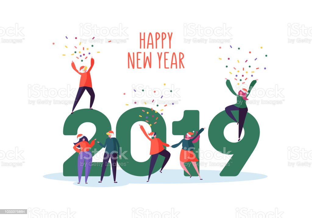 Happy New Year 2019 Greeting Card Flat People Characters In Santa ...