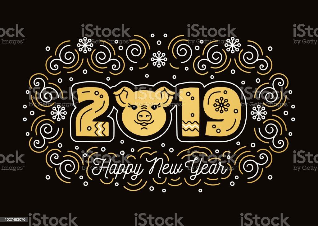 Heureux Carte De Voeux Nouvel An 2019 Symbole De Cochon Nombre Dor