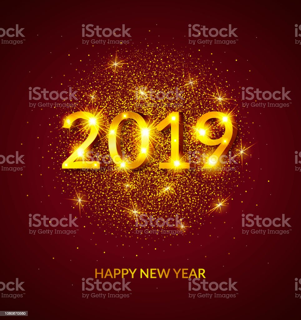 Happy New Year 2019 Greeting Card Poster Banner Invitation Calendar