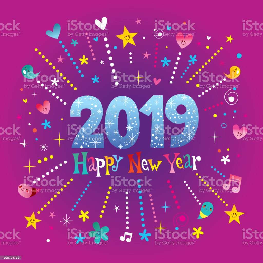 Happy New Year 2019 Greeting Card Stock Vector Art More Images Of