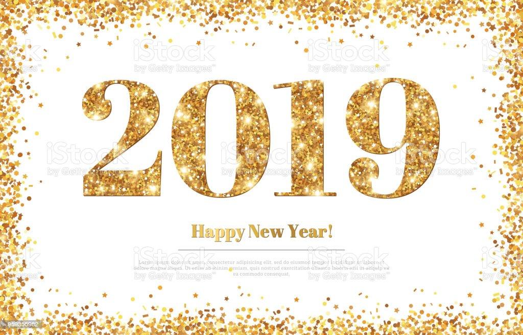 Glückliches Neues Jahr 2019 Greeting Card Stock Vektor Art und mehr ...