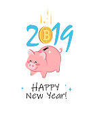 Happy New Year 2019. Greeting card with cute Piggy Bank and Bitcoin Coin. Vector illustration.