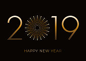 Happy New Year 2019 greeting card with fireworks. - Illustration