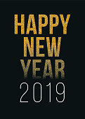 Happy New Year 2019 greeting card with golden text. - Illustration