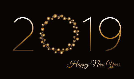 977706014 istock photo Happy New Year 2019 greeting card with Lights Wreath. 1085191834