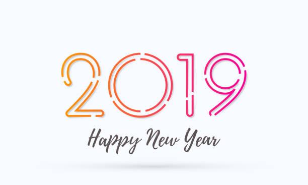 Glückliches neues Jahr 2019 Grußkarte mit Zahlen. Vektor-Kalligraphie Schriftzug Text für Weihnachten Urlaub Feier weißen Hintergrund – Vektorgrafik