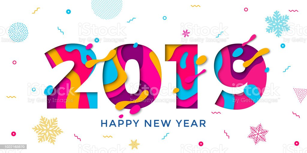 Happy new year 2019 greeting card with paper cut snowflakes vector confetti decoration pattern - New years colors 2019 ...