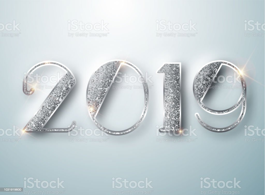 happy new year 2019 greeting card with silver numbers on white background vector illustration