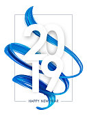 Vector illustration: Happy New Year 2019. Greeting poster with blue 3d twisted brush paint stroke shape on white background.