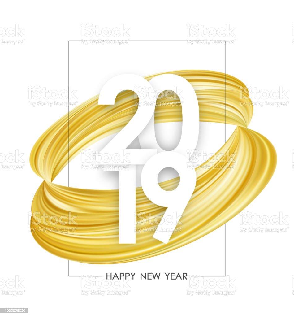 Mutlu Yeni Yil 2019 Poster Altin Soyut Boya Vurus Sekli Ile Beyaz