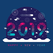 Vibrant flat vector New Year 2019 greeting card with fireworks, clouds, snow and stars.