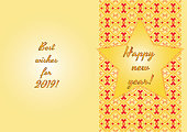 Happy new year 2019 - holiday card - traditional motifs