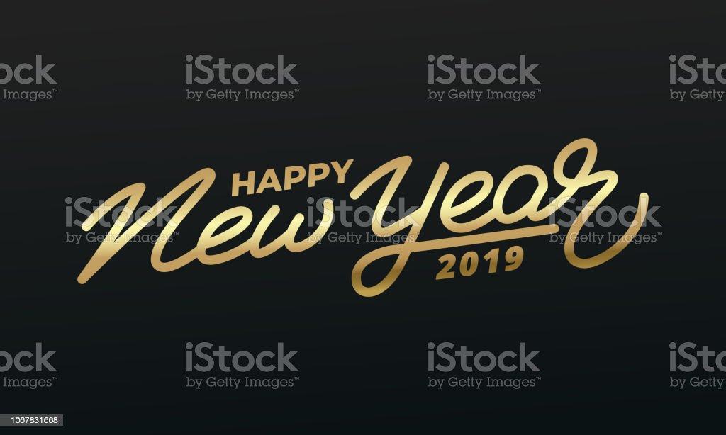 幸せな新しい年 2019 年。金文字の休日イラスト。新しい年のラベル ベクターアートイラスト