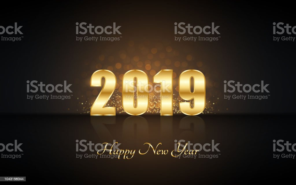 Happy new year 2019 in golden label with burst glitter and - New year 2019 color ...