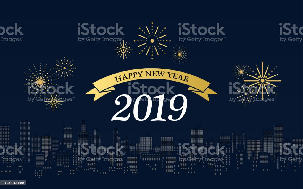 Happy new year 2019 in golden ribbons with fireworks and - New year 2019 color ...