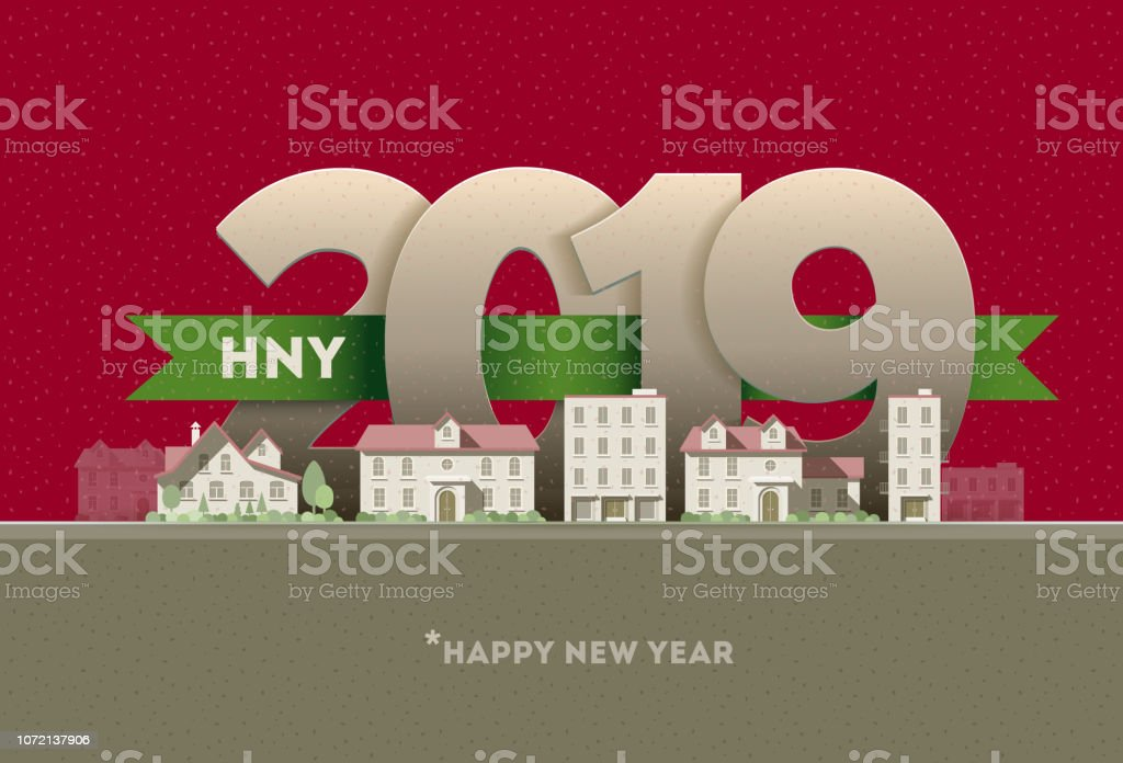 Happy New Year 2019 in the city vector art illustration