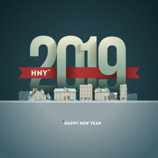 happy new year 2019 in the city - new years day stock illustrations