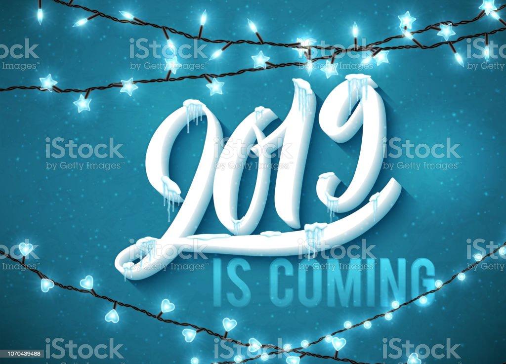 Gelukkig Nieuwjaar 2019 Is Komende Poster Met Realistische Ijspegels
